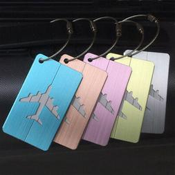 2Pcs Brushed Aluminium Luggage Tags Suitcase Label Address I