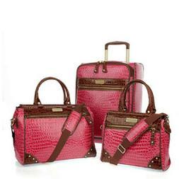"SAMANTHA BROWN 3 pc Classic Luggage Set 21"" SPINNER 2 DOWEL"