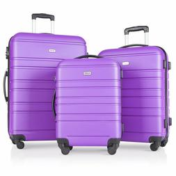 3 PC Travel Hardside Luggage Sets with Spinner Wheels Purple