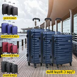 3 Piece Luggage Set Carry On Trolley Suitcase Cover Travel S
