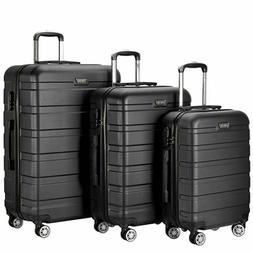 Resena 3 Pieces Black Luggage Sets with Spinner Wheels Light