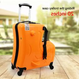 4 Rolling Trolley 20 Inch Carry on Kids Luggage ride on suit