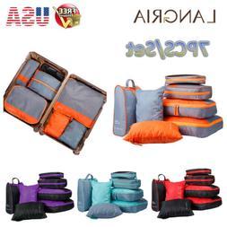 7pcs/Set Foldable Waterproof Packing Cubes Travel Luggage Su