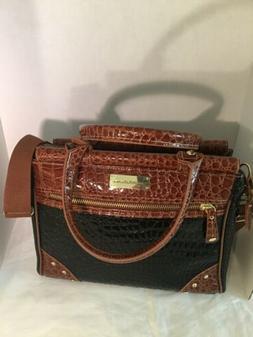 Samantha Brown Black Brown Croc Patent Embossed Travel Bag C