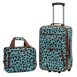 Rockland 2-pc. Blue Leopard Luggage Set