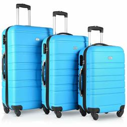 Blue Travel 3 Pieces Hardside Luggage Sets with Spinner Whee