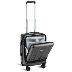 """Carry On Luggage 20"""" Front Pocket Business Trolley Spinner w"""