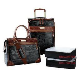 Samantha Brown Croco Embossed Luggage 2-piece Set Black New