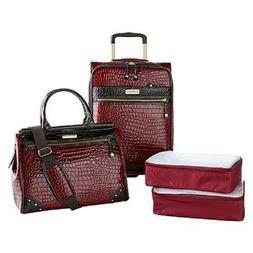 Samantha Brown Croco Embossed Luggage 4-piece Set Burgundy N