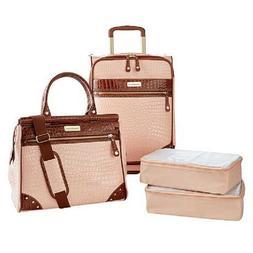 Samantha Brown Croco Embossed Luggage 4-piece Set Nude Blush