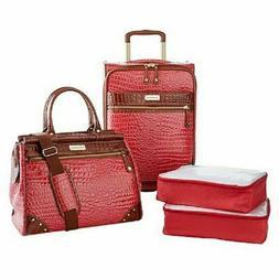 Samantha Brown Croco Embossed Luggage 4-piece Set Watermelon