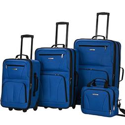 Rockland Deluxe Expandable 4-Piece Luggage Set - Blue