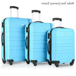 3 PCs ABS Hardside Travel Luggage Sets Spinner Wheels Suitca