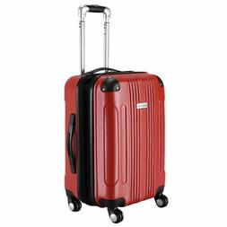 """GLOBALWAY Red Expandable 20"""" ABS Carry On Luggage Travel Bag"""