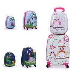 2 Pcs Children Travel Trolley Hard Shell Suitcase School Bag