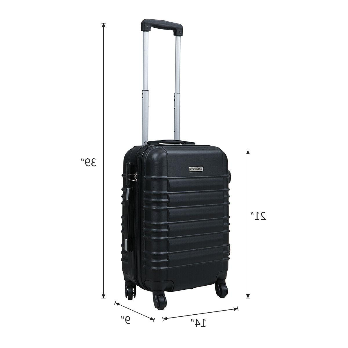 "20"" ABS Carry On Luggage Travel Suitcase Lightweight w/Lock"