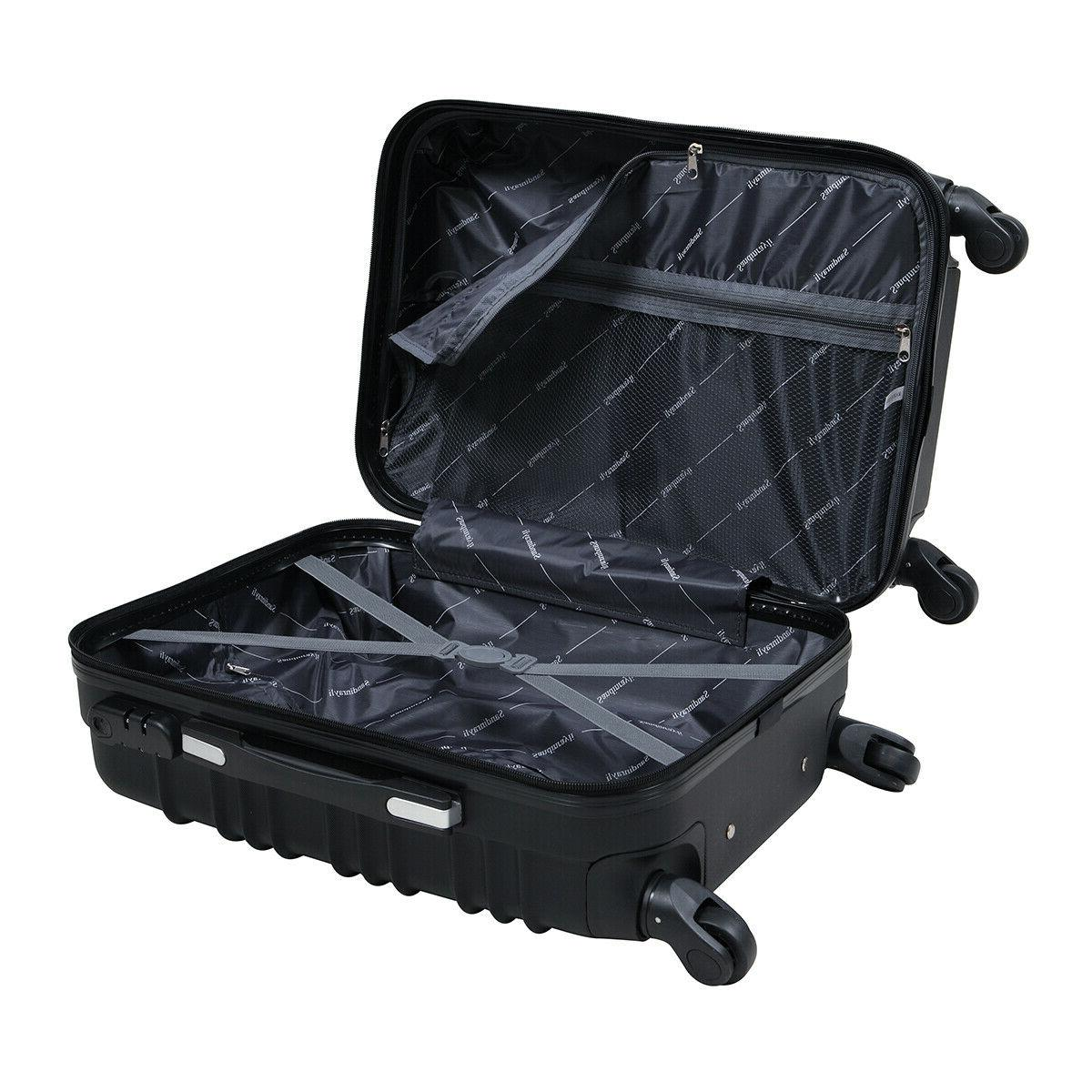 "20"" ABS Luggage Travel Trolley Suitcase Black"