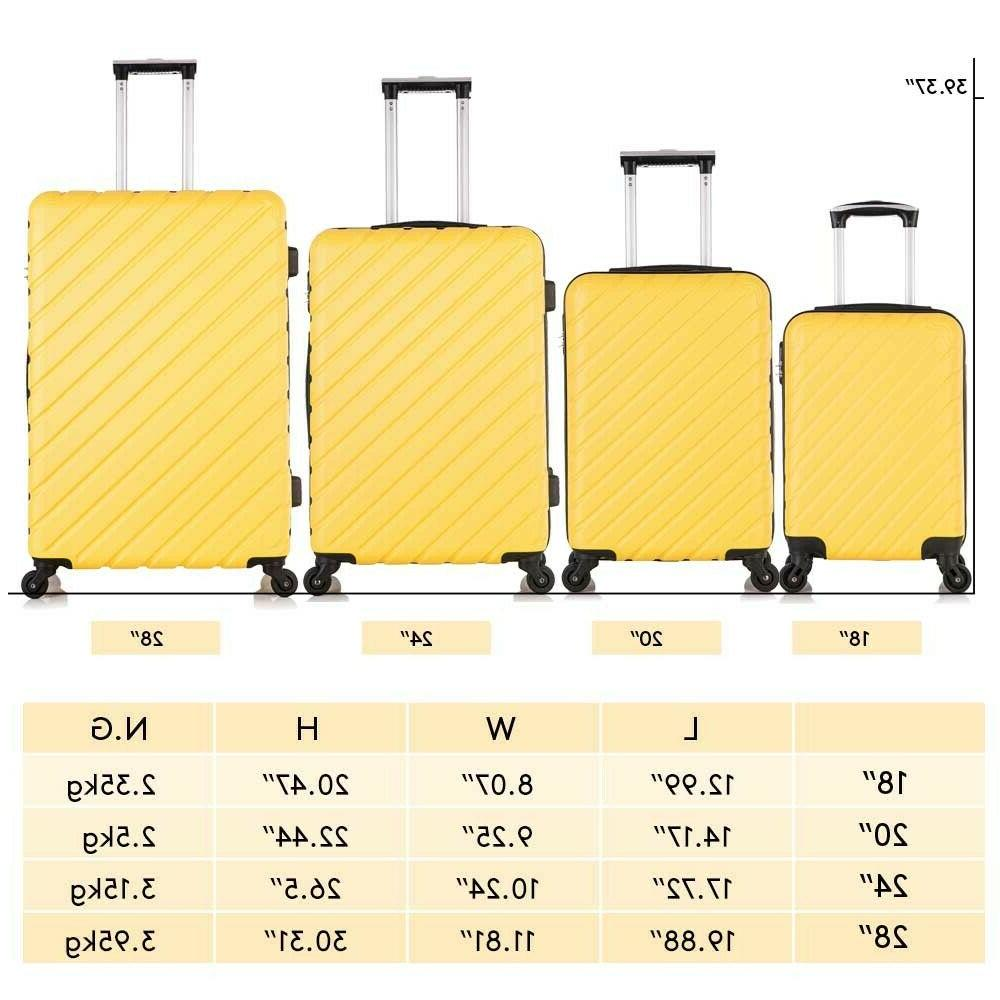4 Carry On Luggage Spinner Travel Suitcase Yellow