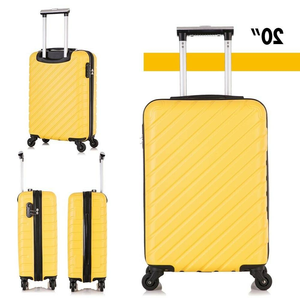 4 ABS Carry On Luggage Set Spinner Yellow