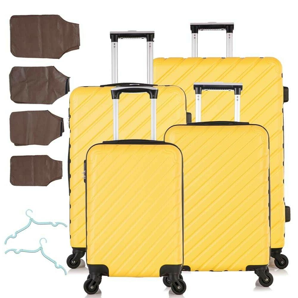 4 pcs ABS On Set Spinner Trolley Yellow