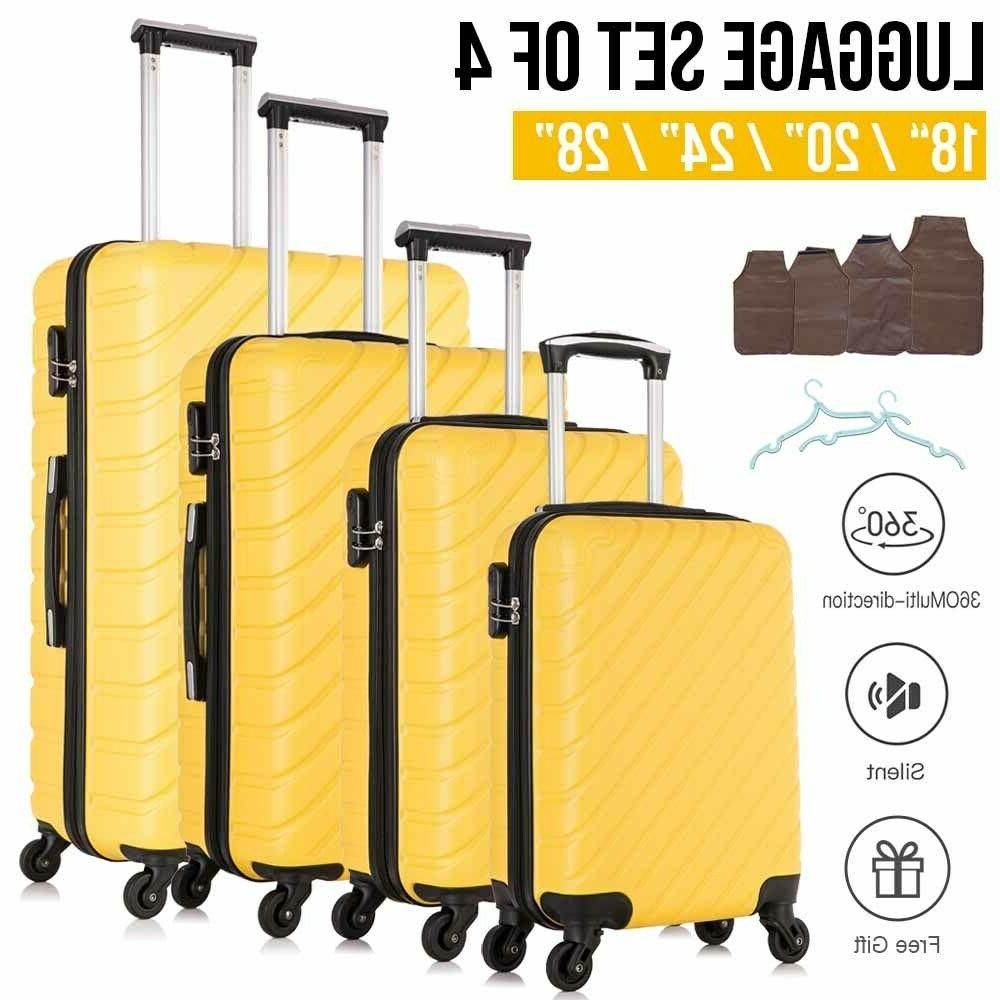 4 pcs abs carry on luggage set