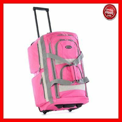 Luggage Rolling Duffel Bag Pink Travel Set Suitcase Trolley