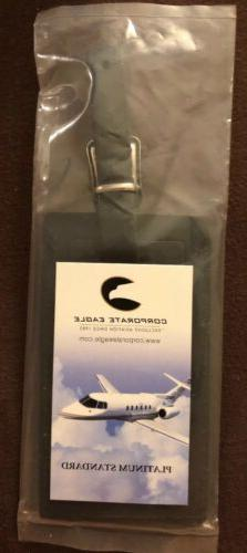 Beautiful Navy Blue Leather Luggage Tag - New