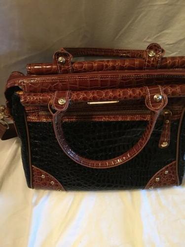 Samantha Brown Black Brown Croc Patent Travel Bag Carry On