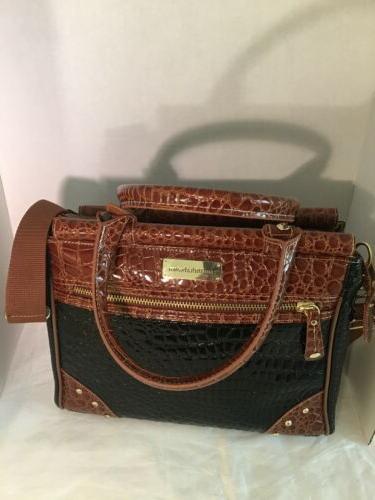 black brown croc patent embossed travel bag