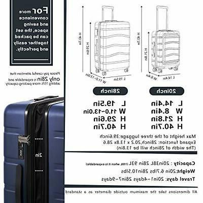 COOLIFE Luggage Suitcase On with pocket READ