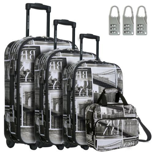 DAVIDJONES Womans Vintage 4 Piece Luggage Set with Brooklyn