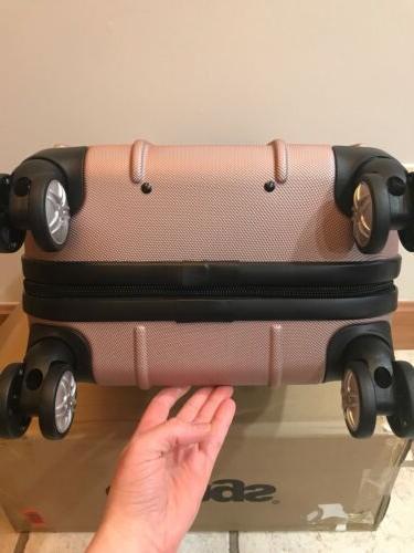 eBags Exo Hardside Spinner Suitcase Rose Gold New