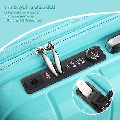 REYLEO Luggage Inch PP Carry on Luggage Suitcase USB
