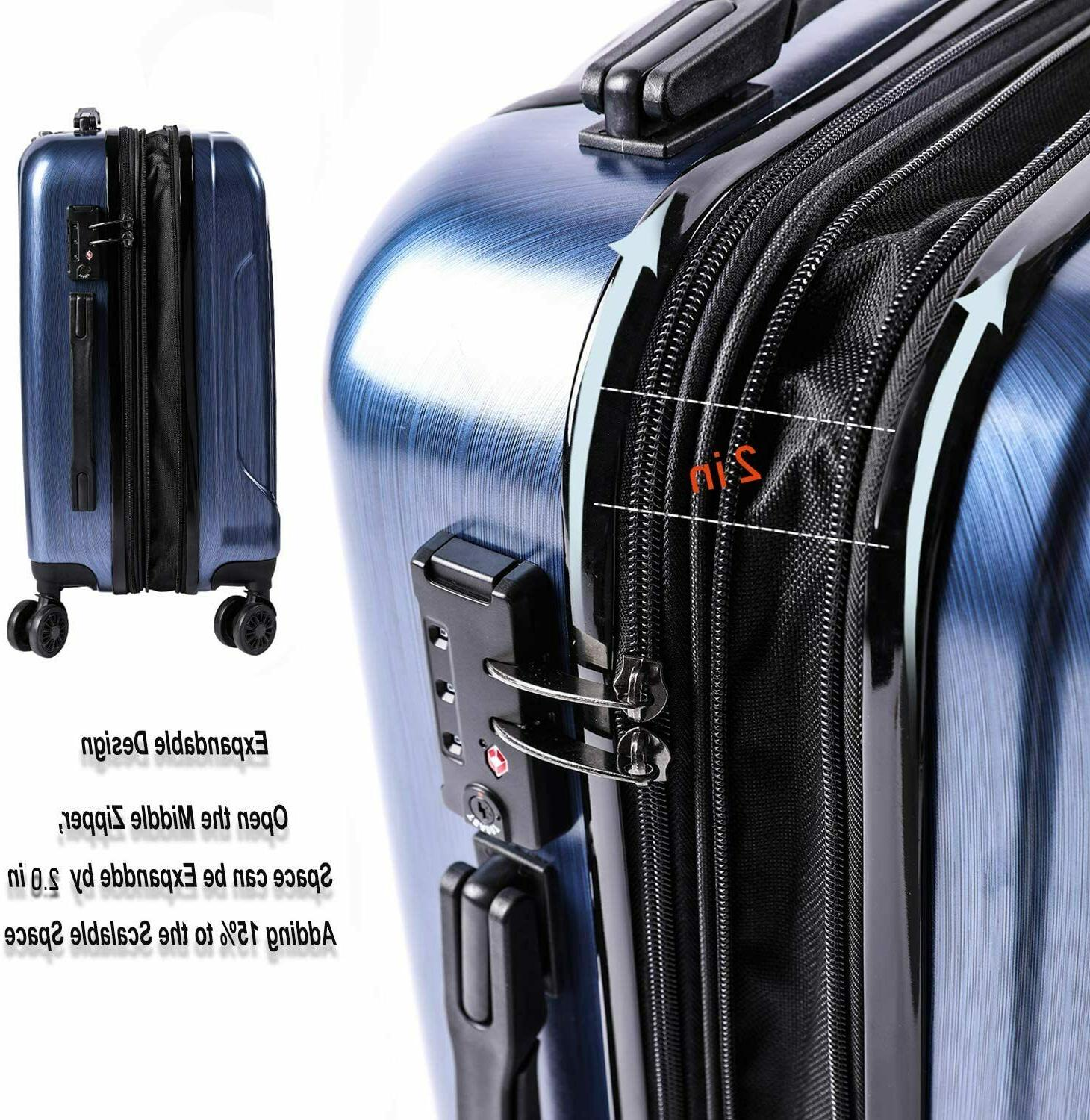 CarryOne Expandable PC+ABS Carry on Luggage Travel Built-i
