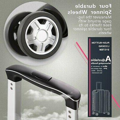 Coolife Luggage Aluminium Suitcase with TSA 100% PC Silv...
