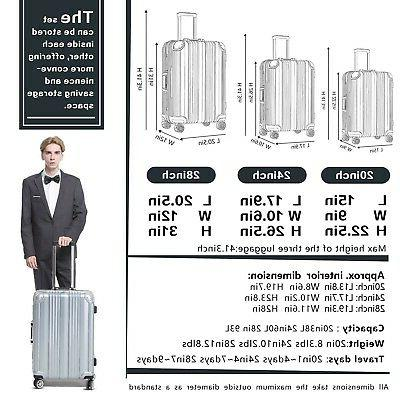 Coolife Aluminium Frame Suitcase with 100% PC