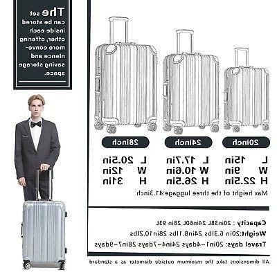Coolife Luggage Aluminium Suitcase with TSA 100%