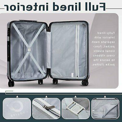 Coolife Luggage Suitcase PC+ABS with Carry on Hardshell 20in
