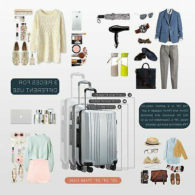 Coolife Suitcase PC+ABS with Lock Carry on Hardshell 20in