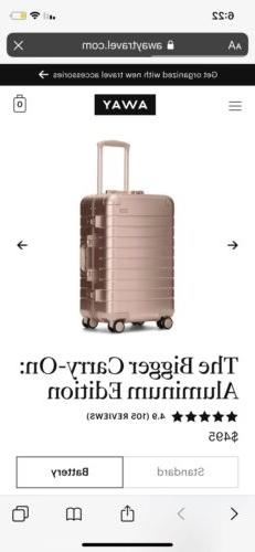 New in Box Away Travel Luggage The Bigger Carry-On: Aluminum