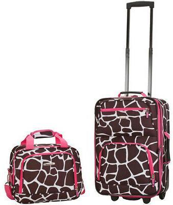 Rockland Expandable Carry Softside Luggage Set, Black/Gray