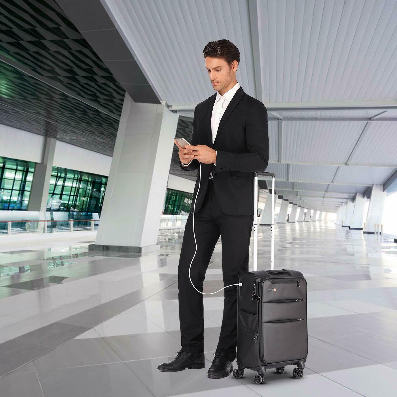 REYLEO Spinner 20 Inch Luggage 8-Wheel Travel Suitcase