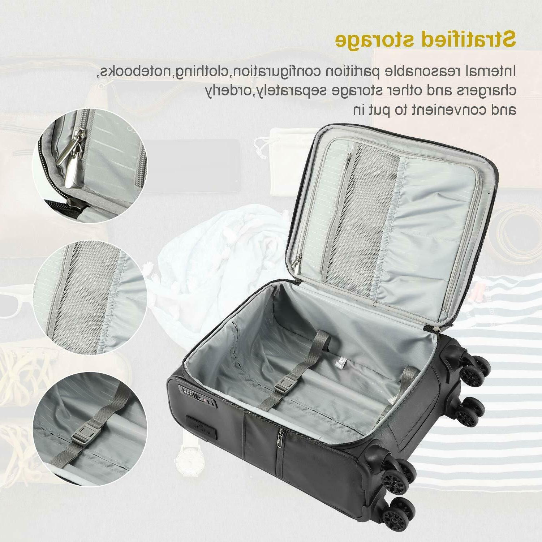 REYLEO Softside Spinner 20 Inch Luggage 8-Wheel