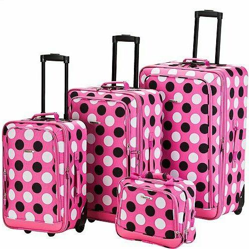 unisex 4 piece pink dot luggage set