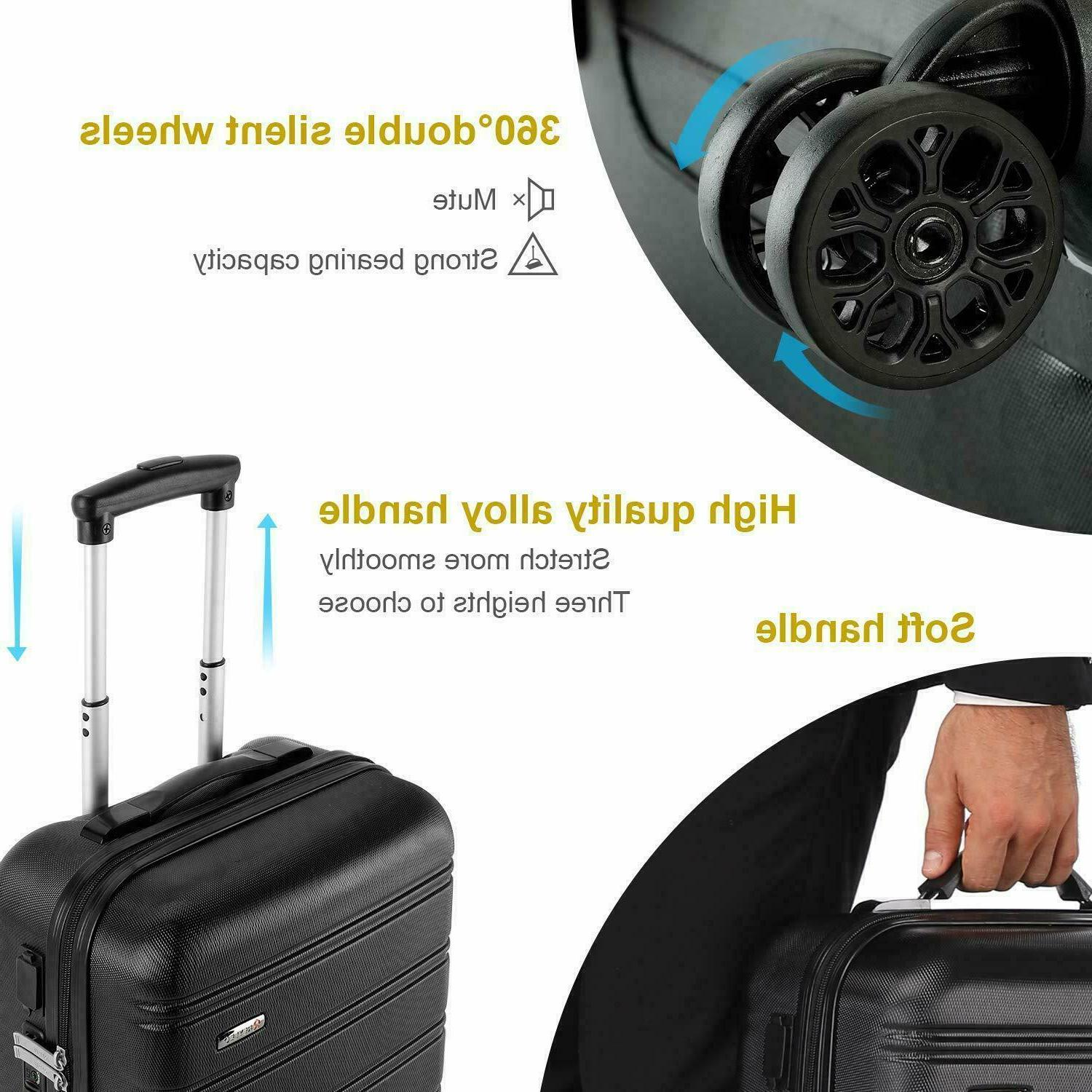 REYLEO USB Charging 20in PC+ABS Luggage Travel Built-i