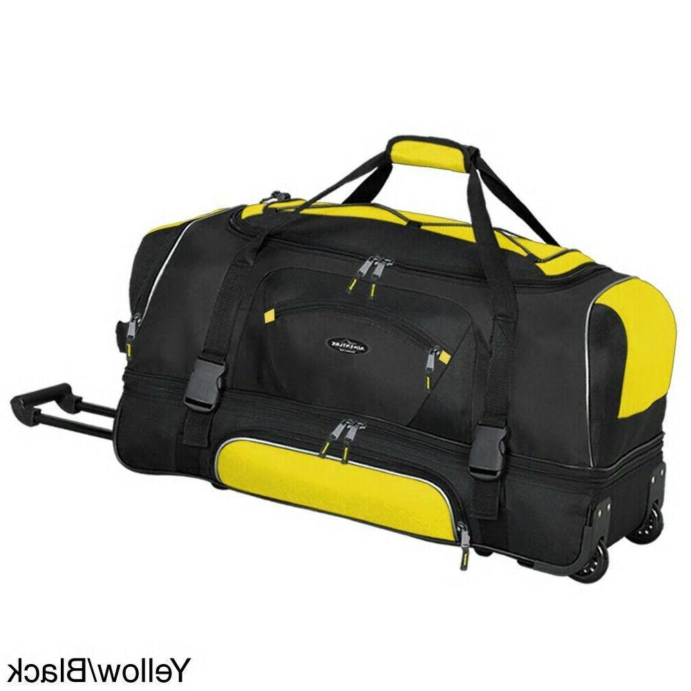 Yellow black 36 inch rolling duffel luggage bag drop botton