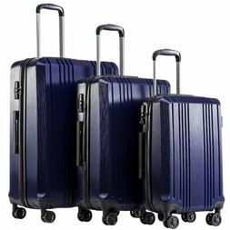 Coolife Luggage Expandable Suitcase PC + ABS 3 Piece Set Wit