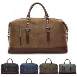 Men's Vintage Leather Large Overnight Luggage Duffle Travel
