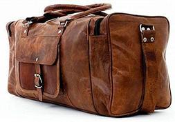 "JSV New 24"" Genuine Leather Duffle Bag Men Overnight Carry-O"