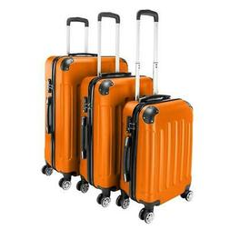 Orange 3 Pieces Travel Luggage Set Bag ABS Trolley Carry On
